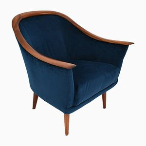 Norwegian Navy Blue Velvet & Rosewood Armchair by Fredrik Kayser for Vatne Mobler, 1960s