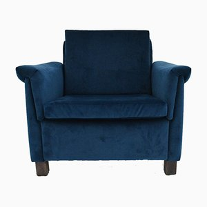 Mid-Century Danish Navy Blue Velvet Club Chair, 1960s