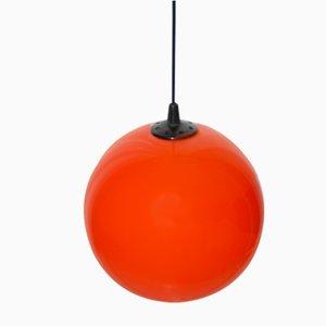 Orange Opaline Globe Pendant, 1970s