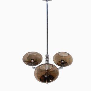 Lámpara de araña con tres esferas de cristal ahumado de Gaetano Sciolari, años 70