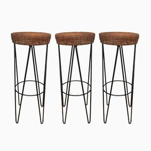 Wicker Bar Stools, 1950s, Set of 3