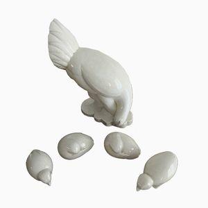 Henne mit vier Hühnern aus Keramik von Jacques Adnet, 1930er
