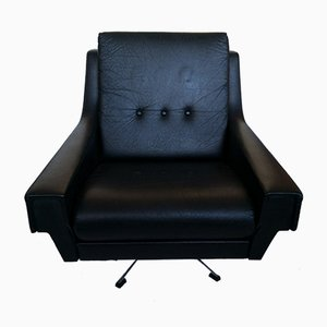 Black Leatherette Swivel Chair, 1960s