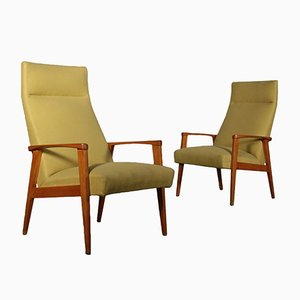 Vintage Italian Beech & Fabric Upholstery Armchairs, Set of 2