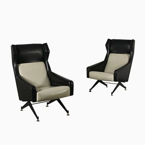 Vintage Italian Leatherette, Metal, & Brass Armchairs, Set of 2