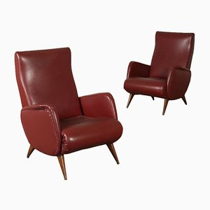 Italian Leatherette Armchairs, 1950s, Set of 2