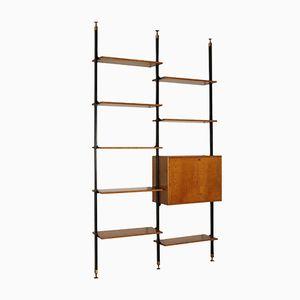Deckenhohes italienisches Bücherregal aus Mahagonifurnier, Metall & Messing