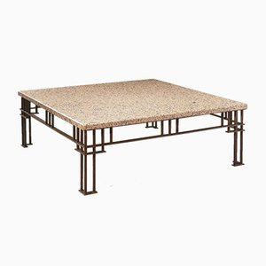 Postmodern French Granite & Wrought Iron Coffee Table by Jean Michel Wilmotte, 1980s
