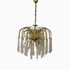 Vintage Brass Drop Chandelier, 1960s