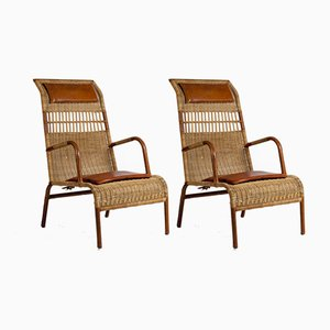 Stitched Leather & Rattan Armchairs by Jacques Adnet, 1950s, Set of 2
