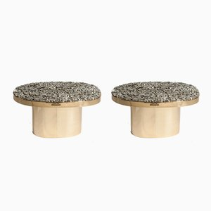 Brass Side Tables with Pyrites Stones by Georges Mathias, 1970s, Set of 2