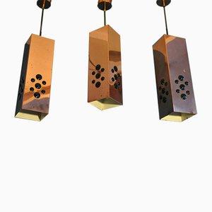 Hängelampen aus Kupfer & Glas von Hans Agne Jakobsson, 1950er, 3er Set
