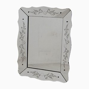 Venezianischer Vintage Spiegel mit geschliffenem Rahmen mit Blumen-Motiven