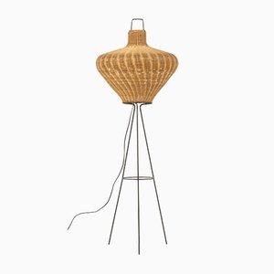 Stehlampe mit Schirm aus Rattan, 1950er