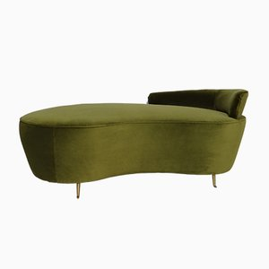 Curved Vintage Italian Velvet Sofa on Bronze Feet