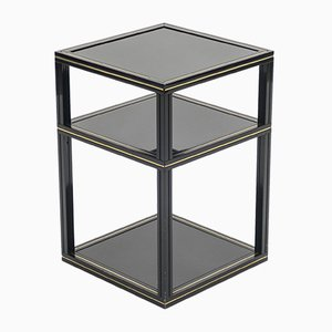 Black Side Table with Gold Trim by Pierre Vandel, 1970s