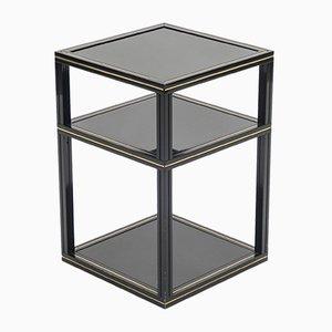 Tavolino nero con bordi dorati di Pierre Vandel, anni '70
