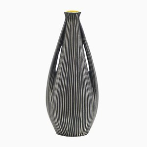 Italian Striped Ceramic Vase with Yellow Enameled Neck, 1960s