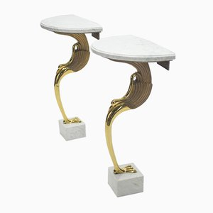 Brass & Marble Console Tables by Robert Thibier, 1970s, Set of 2