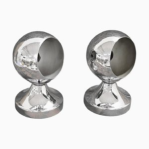 Aluminum & Chrome Table Lamps, 1980s, Set of 2