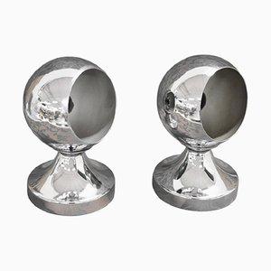 Tischlampen aus Aluminium & Chrom, 1980er, 2er Set