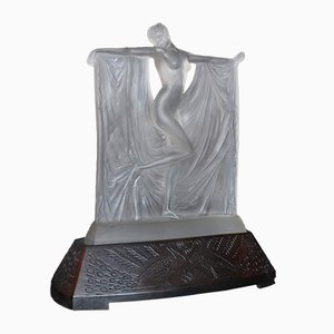 Frosted Glass Suzanne Figure on Bronze Base by René Lalique, 1930s