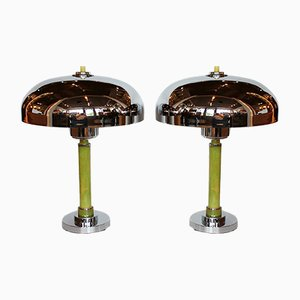 Art Deco Dome Table Lamps, 1930s, Set of 2