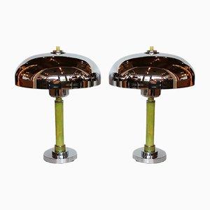 Art Deco Tischlampen mit kuppelförmigem Schirm, 1930er, 2er Set