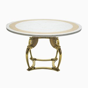 Brass & Marble Dining Table by Robert Thibier, 1970s