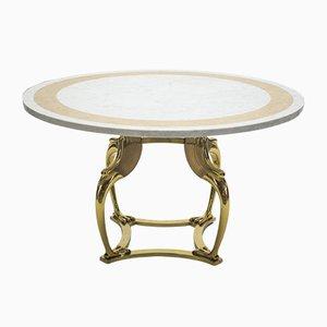 Tavolo da pranzo in ottone e marmo di Robert Thibier, anni '70