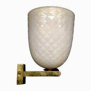 Lámpara de pared de latón, vidrio y pan de oro de Seguso, años 60