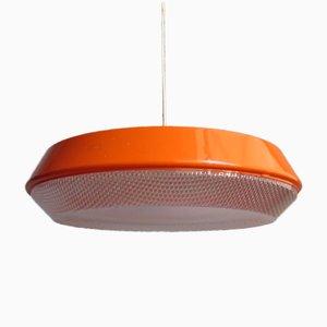 Lampada grande vintage arancione con diffusore in plastica con motivo geometrico