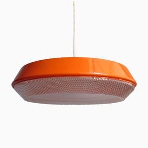 Large Vintage Orange Pendant Lamp with Textured Plastic Diffuser