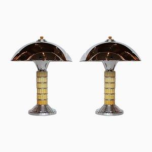 Art Deco Dome Lamps, Set of 2