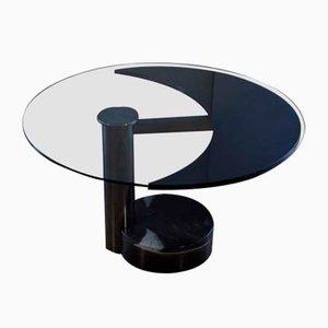 Table de Salle à Manger Ronde & Ovale avec Plateau en Verre et Noir par Mario Mazzer pour Zanette