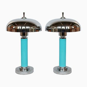 Art Deco Tischlampen mit kuppelförmigem Schirm, 2er Set