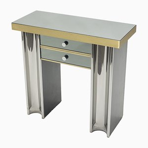 Small Chrome & Brass Console Table, 1970s