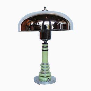 Lampada da tavolo Art Déco in metallo cromato