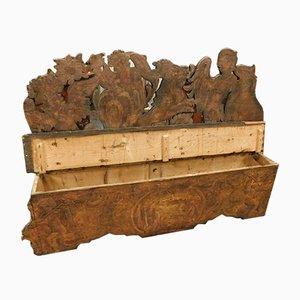 Banc Vénitien 16ème Siècle en Bois avec dossier sculpté