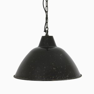 Black Enamel Factory Pendant Light, 1950s