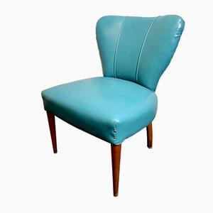 Italienischer Vintage Cocktail Chair aus blauem Vinyl