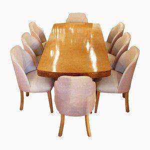 Set da pranzo Art Déco con otto sedie