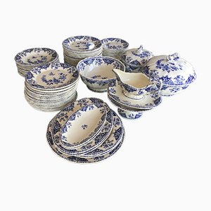 Vintage Blue & White Earthenware 68-Piece Service from Gien, 1980s