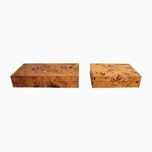 Cajas de madera nudosa de Tommaso Barbi, años 70. Juego de 2
