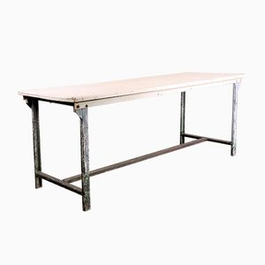 Rectangular White Industrial Metal Dining Table, 1960s