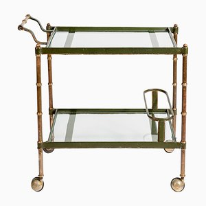 Stitched Leather Bar Cart by Jacques Adnet, 1950s