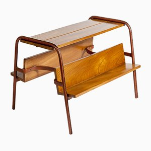 Stitched Leather Table or Magazine Rack by Jacques Adnet, 1950s