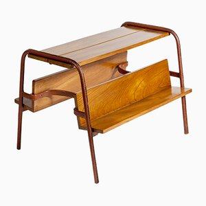 Tisch oder Zeitschriftenständer aus genähtem Leder von Jacques Adnet, 1950er