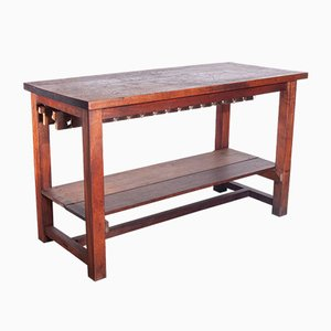 High Work Table or Kitchen Island with Solid Iroko Top, 1950s