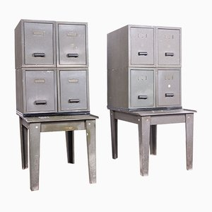 Industrial Metal Storage Cabinets, 1940s, Set of 2
